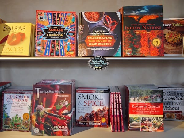 Upon entering, I am greeted by the (very colourful) wealth of cookbooks and recipes about New Mexican cuisine ...