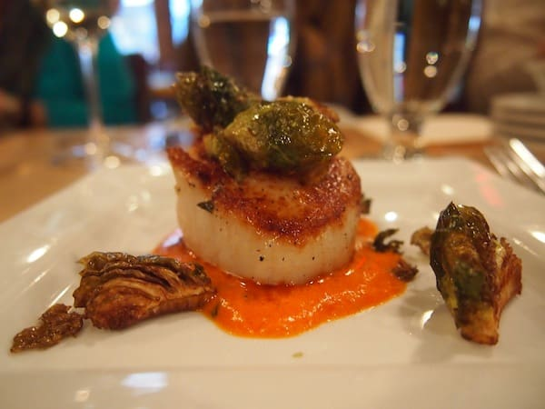 During the walking tour, we are offered this beautiful scallop with delicious veggie cream & braised artichoke hearts ...