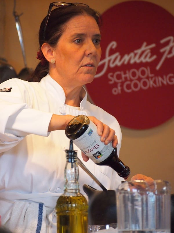 """When you love what you do, it shows"": Lois Ellen Frank focused on preparing great New Mexican food & patiently answering questions from the audience."