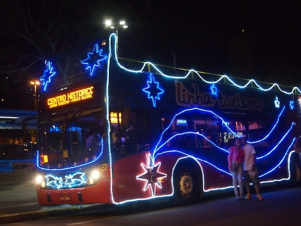 Another tip for exploring Porto Alegre: Taking a night-time double-decker bus ride, which boasts colourful Christmas lights on the occasion of the season ...!