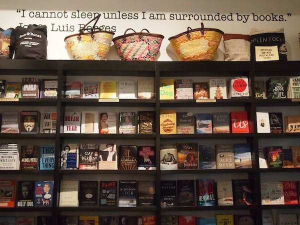 We take a quick look inside to see that actual bookstore's ample selection of books of all genres and types ...