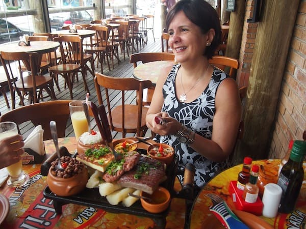 "Definitely a moment to capture: At lunchtime with ""my"" dear Brazilians Maria Luiza & Cinthia ..."