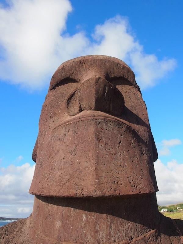 ... oder diesen: Blick in das Gesicht eines spirituellen Stammesführer, welchen die Moai verkörpern.