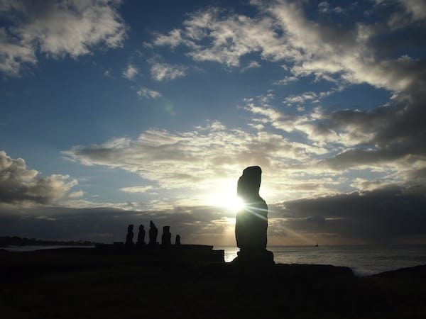 "Last but not least, I am ""back to where I was"", visiting the very Moai by the beach where only days earlier, I witnessed the mighty Chilean Symphony Orchestra with dear local Hernán against the magic of a sunset no less impressive than this one ..."