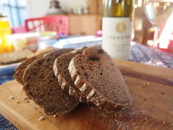 "All this adventure makes me hungry ... fortunately for a world traveller from Austria, there is dark rye bread & wine waiting for us, essentially recreating ""home away from home"" !"