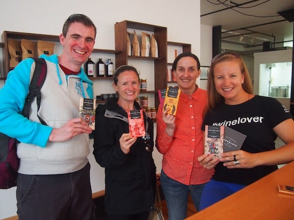 Spreading the love: Happy chocolate visitors at Wellington chocolate factory!