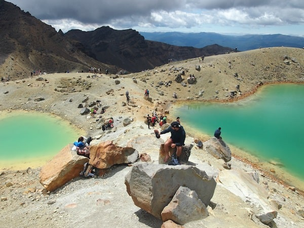 The Emerald Lakes, so-called for their stunning natural appearance, are a popular lunch spot on this eight-hour day walk.