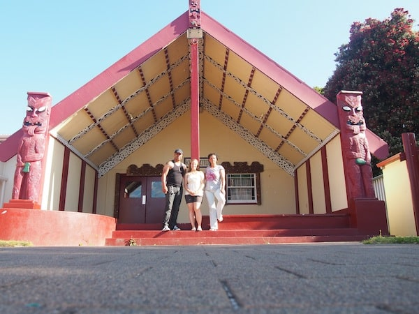 "... the meeting house, or ""Kurapoto Marae"" that I have been gladly welcomed by Whaia Olga's son Moana together with Ngahuia: What an honour for me as an overseas visitor. Thank you so much, my dear Maori family !!!"