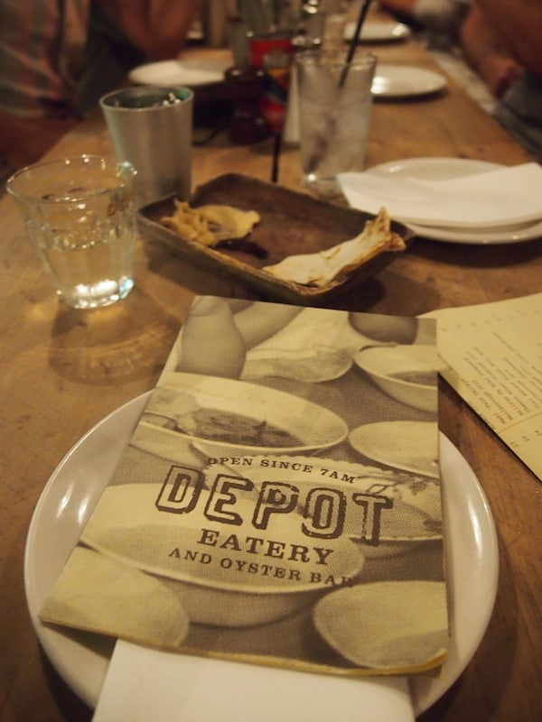The atmosphere at Depot Eatery & Oyster Bar is casual, to say the least – and always packed, as word about it has obviously spread!