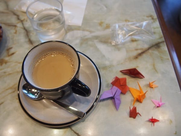 … as she forever smiles at me and offers me beautiful Origami as a present with my coffee !!! Must be the love – Coffee Liebe!