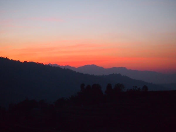 And would you believe the colours of this first sunset we get to experience together here in countryside Nepal?