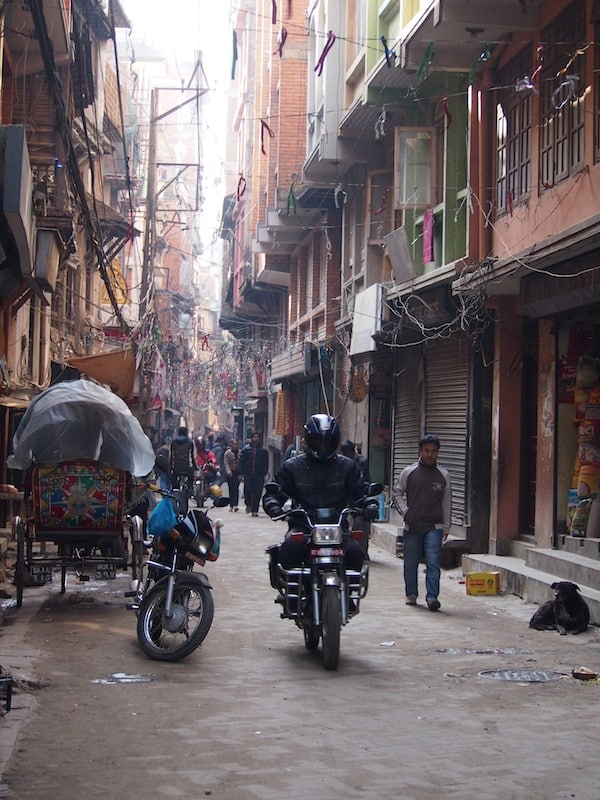 Morning walk means circumnavigating anything coming your way in the narrow streets of Kathmandu old town ...