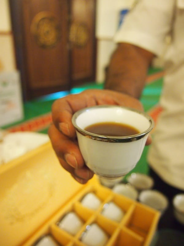 I like the way coffee is served here: Sweet and usually with a hint of saffron, cardamom and rosewater infusion .. delightful !!