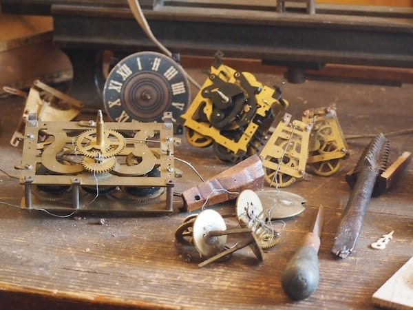Here are some of those original cuckoo clock workings still to be found on an old bench inside the farm ...