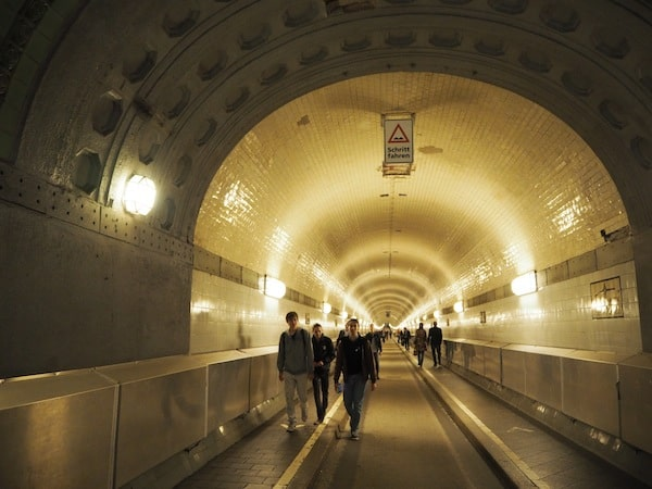 """For a different point of view, try wandering through the """"Elbtunnel"""" near the famous Hamburg Fish Market ..."""