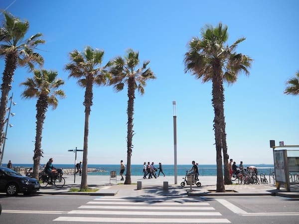 "Starting my impromptu ""walking tour"" of Barceloneta Beach, this is the view you get coming out of the streets of this charming little ""village quarter"" of Barcelona city ..."