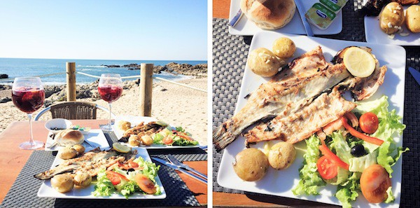 One of my favourite things - grilled seabass and sangria on the beach