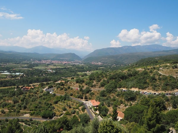 The land at the foothills of the Pyrenees, in French Languedoc-Roussillon ...