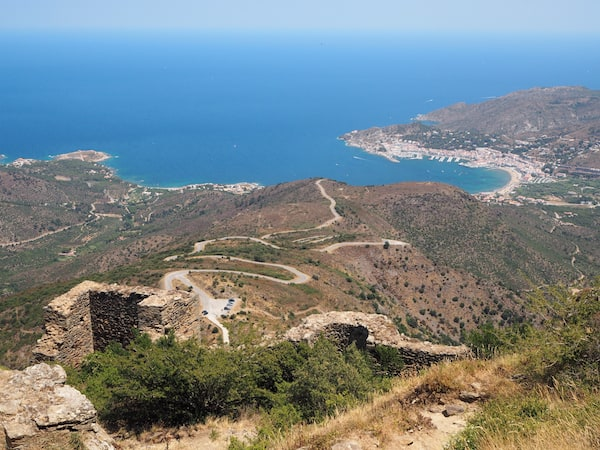 Standing on top of the hill at Sant Pere de Rodes in north-eastern Catalonia, overlooking Port de la Selva on Cap de Creus peninsula ...