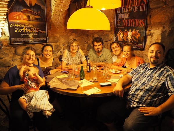 … ending the day at the local bar & restaurant …, eating tasty crêpes with a Catalan twist.!