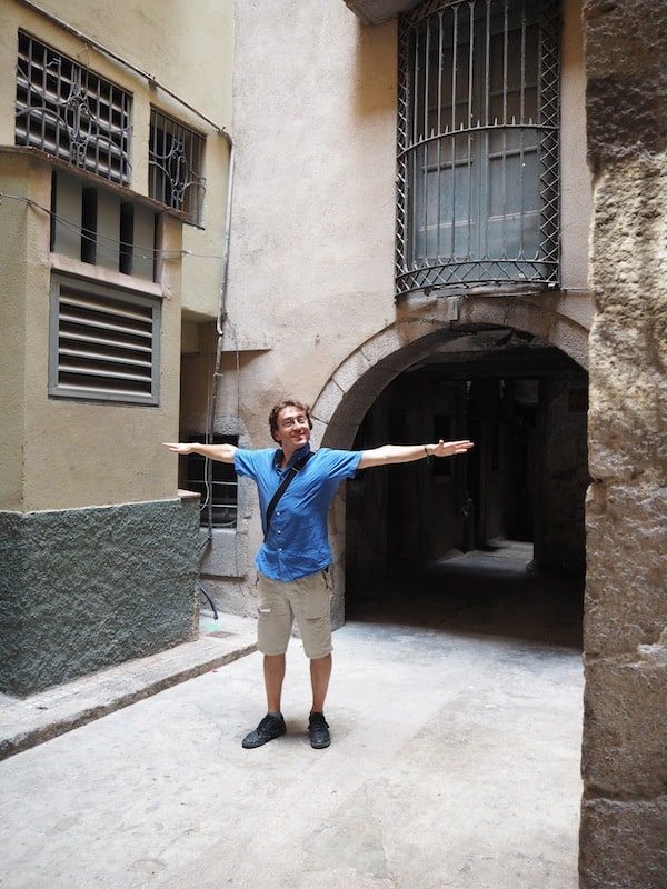 "… Marc showing me the ""smallest square"" (yes, it's classified as a 'Placa'!) of Girona, and possibly, the world ..."