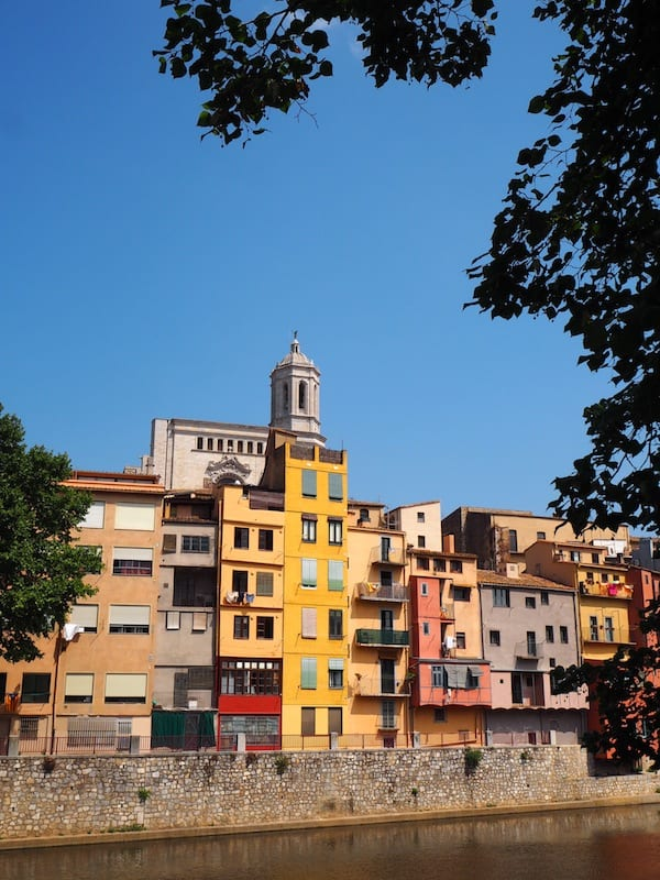 The city of Girona, located at the Onyar river, is well-known for its colour house facades right by the river Onyar ...