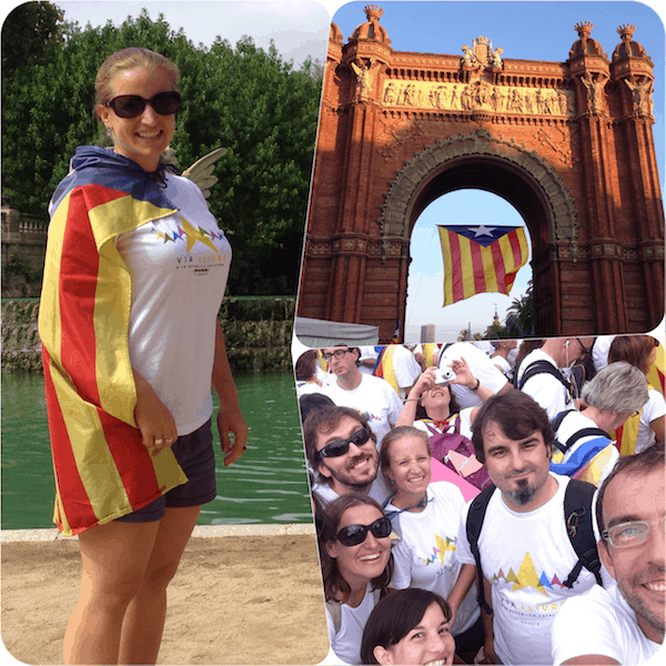 "... have turned me into ONE OF THEM !!! Big is the heart of the Catalan nation for its ""germans de llengua"", all those people who like me have come from abroad to go and celebrate with them!"