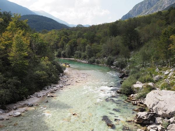 Blick ins Soča-Flusstal ...