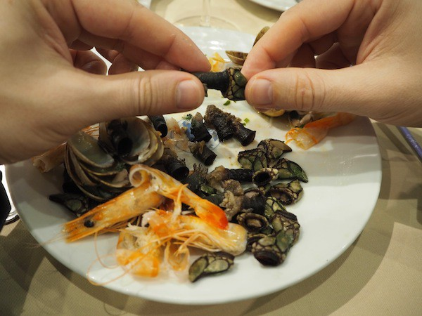 "... how to handle these rather odd-looking (but deliciously tasting) ""percebes"" seafood?!"