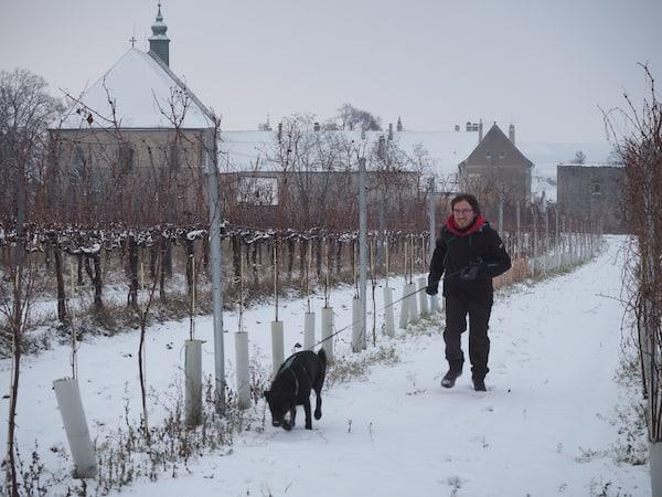 Wenig später hat sich die Landschaft dank des Schneefalls in eine wunderbare, weiße Winterdecke gehüllt … Coffee to go, heißt es da!