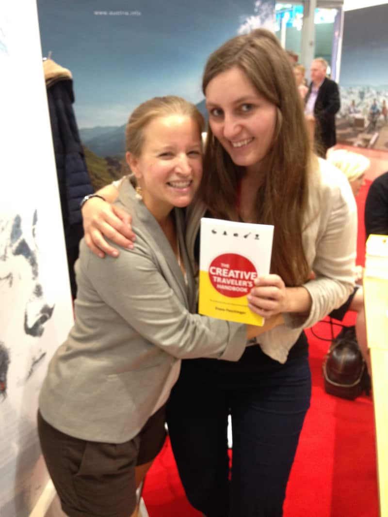 "Lovely Nienke and a hug over presenting her with ""The Creative Traveler's Handbook"" at last year's World Travel Market in London during the official book launch event."