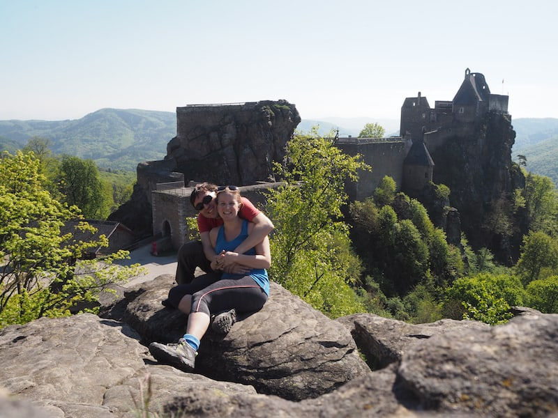 … of the castle ruin of Aggstein high above the Danube valley.