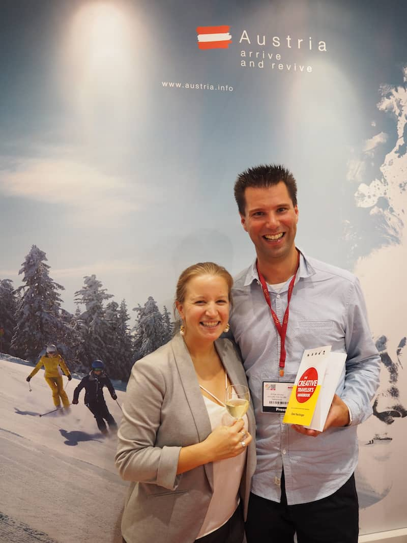"Erik van Erp and I at the World Travel Market in London, where ""The Creative Traveler's Handbook"" has been officially launched for the first time."