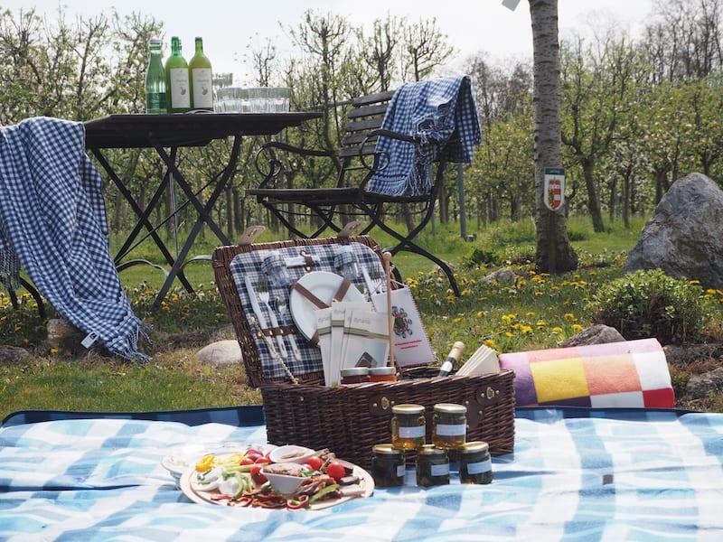 Abschließend erwartet uns das besagte Picknick im Obstgarten ...