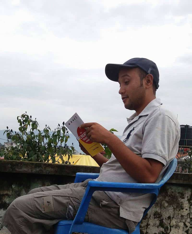 "Rakesh Shahi, reading ""The Creative Traveler's Handbook"""