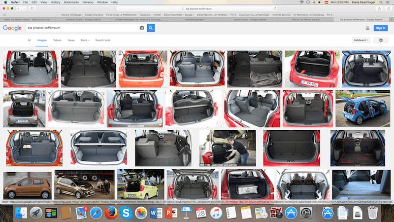 Was sich definitiv lohnt (Tipp meines Bruders!) ist die Google Bildersuche zur Größe des Kofferraums des Autos vor Abschluss der Buchung. Damit vermeidet Ihr unliebsame Überraschungen beim Verstauen von Gepäck!
