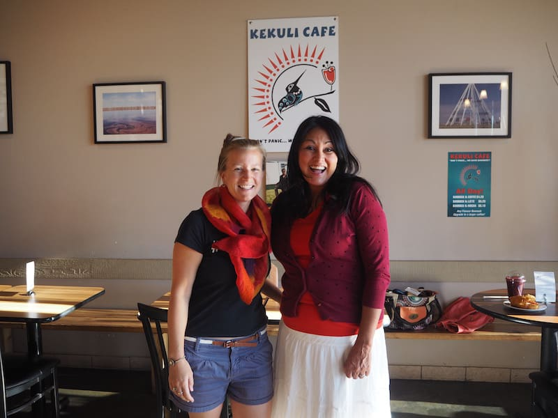 "… if out for breakfast, head over to Kekuli First Nation café in Westbank either by car or bus: Been lovely to meet with you Sharon, and your ""Breakfast Bannock"" (traditional-style bread) is delicious!"