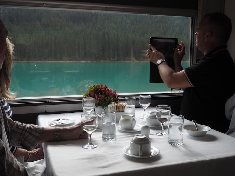 ... in total style and amazement, passing by turquoise mountain lakes during breakfast in the panorama food car of the train through the Rocky Mountains.