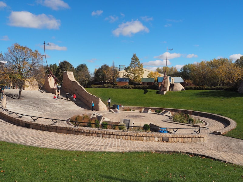 The Forks is a historic, green & meeting site right inside of Downtown Winnipeg, where local Aboriginal people are said to have lived for at least 6.000 years, if not much longer.