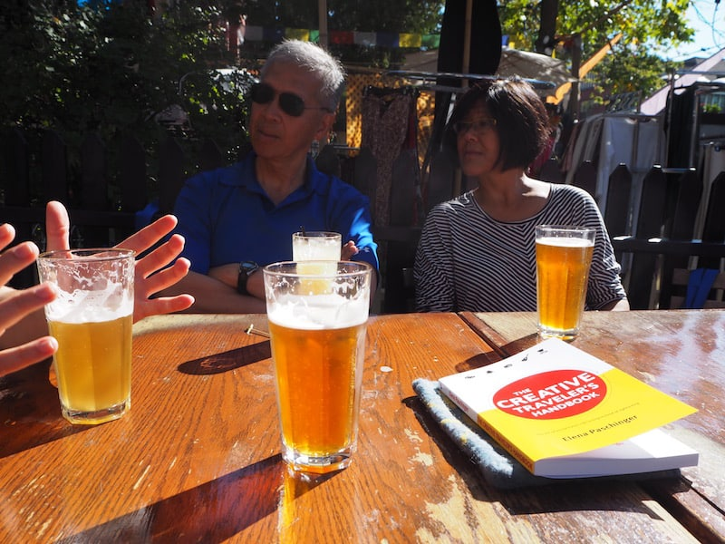 "... as well as time to sit down and socialise over (just) drinks in the beautiful autumn sun that day: Love our time chatting with Linda & Gordon from Calgary, talking about life, love, the universe and - ""The Creative Traveler's Handbook"" of course ...!"