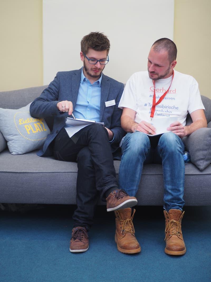 Selbiger (Gerhard & Thomas) stecken auch hier in Vorbereitung des ReiseBloggerSlam nochmals die Köpfe zusammen ...