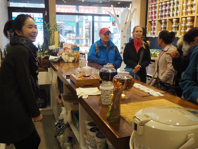 "Kick-off to a delicious, and rather ""heart-warming"" food tour in this Chinese tea shop ..."