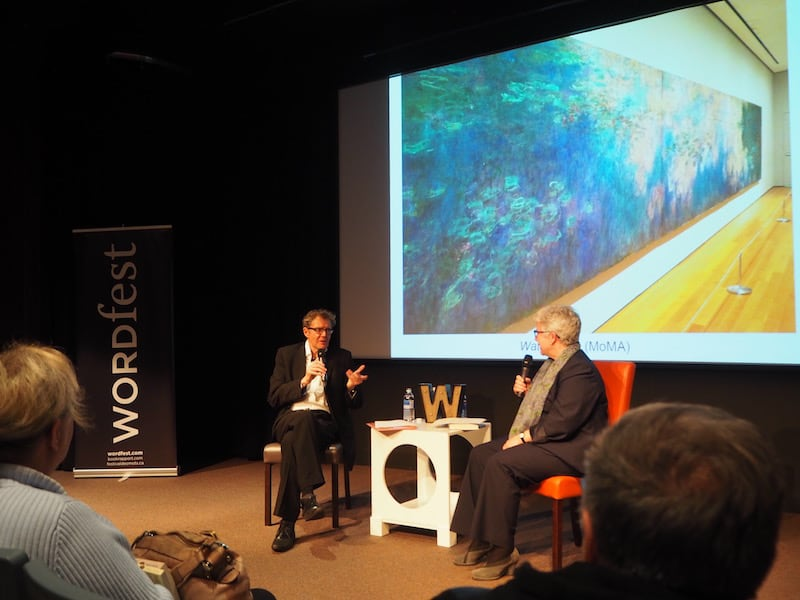 "In the evening, Linda & Gord invite me along their planned participation to the Calgary ""Wordfest"", where Saskatchewan-born writer Ross King talks about his recent book on Claude Monet at the Glenbow Museum Theatre. Amazing to watch (and listen to) from my European art lover point of view!"