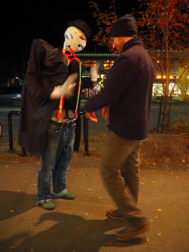 "A little later, we find Noah & Adam ""dancing in the streets"" to the creative (flash mob!) spirit of Halloween in Banff ..."