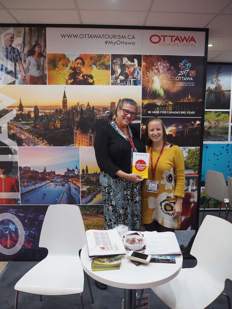 "... reinforcing new friendships made, such as handing dear Jantine Kregten, of Ottawa Tourism Board, my book ""The Creative Traveler's Handbook"" ..."