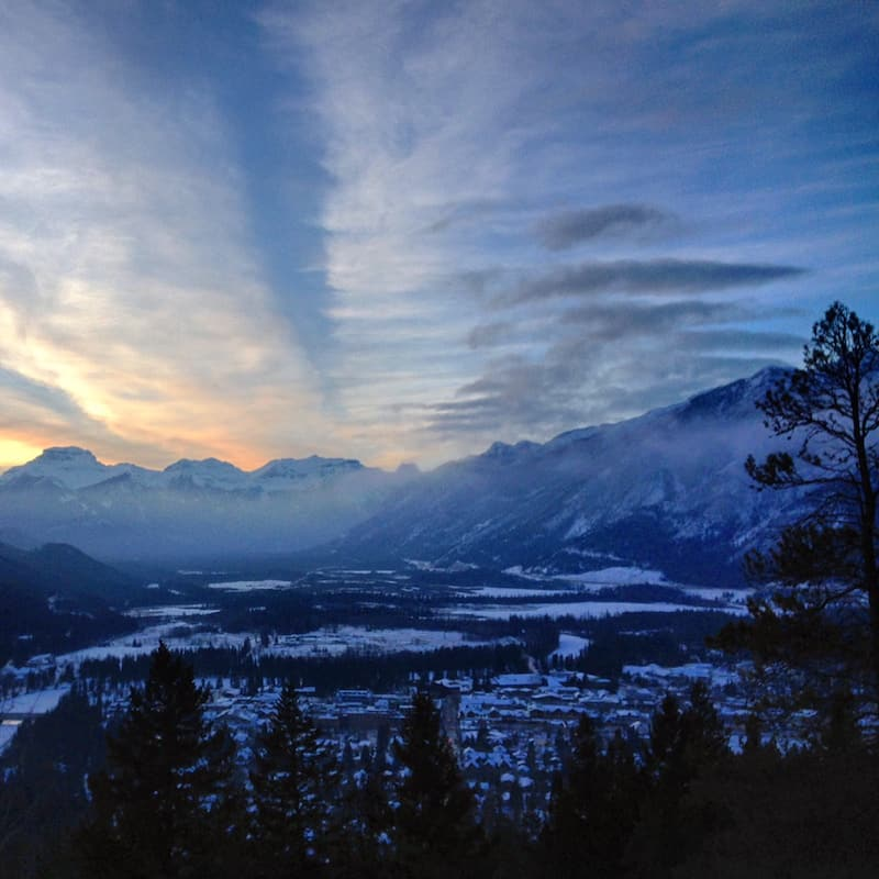 Hello, Banff: The view from up Tunnel Mountain is pretty spectacular, especially during this winter sunset ...