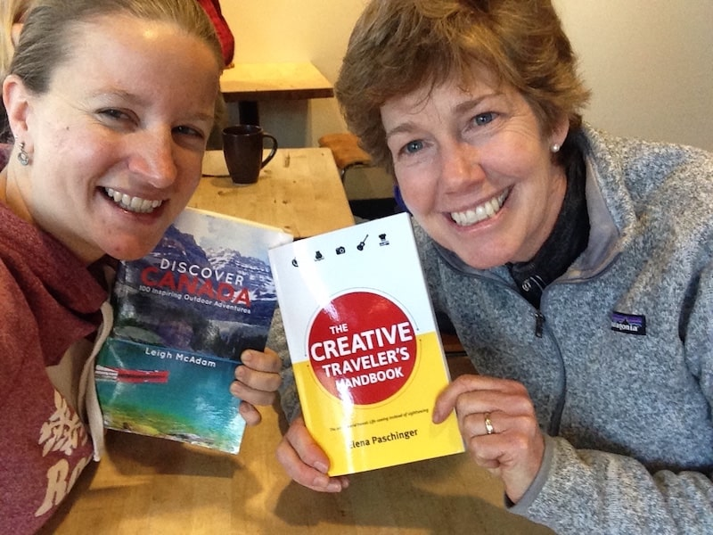 ... and more of those happy smiles: Being back in #myBanff has travel writer friend Leigh McAdam and me meet following our one & only previous meet-up during The Social Travel Summit in Leipzig years ago, finally exchanging both our books we have written and published in the meantime ...