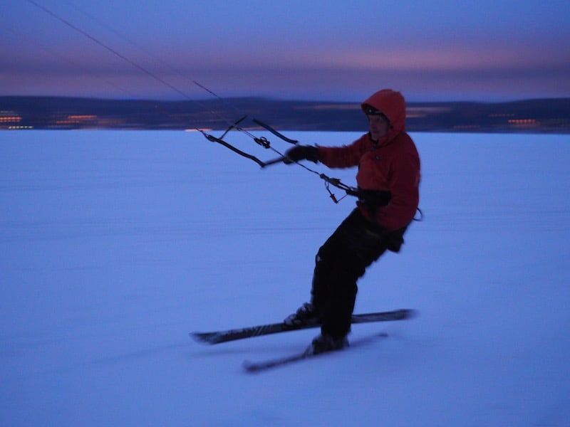 "Bekka, on a beautiful ""fly-by"" across Lake Vesijärvi doing what he loves most : Snow-kiting in the wintertime. ""Why not attach skis to a kite on a frozen lake?"", he would ask sheepishly, and smile."