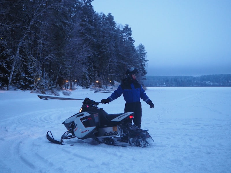 "You can of course also ""just choose"" to stay dressed, and enjoy a ride on one of Ari's snow mobiles ..."