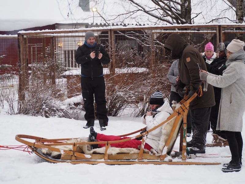 "Ready for a ride ""around the block"" with the husky sled?"